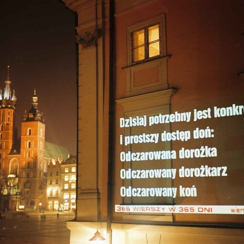Michał Zabłocki's first poem was displayed on ul. Bracka in Krakow on the 24th of October 2002.